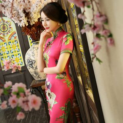 Janelle Qipao - Floral Print Maxi Cheongsam