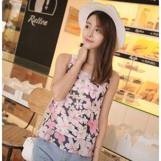 YOZI - Sleeveless Flower Print Tiered Top