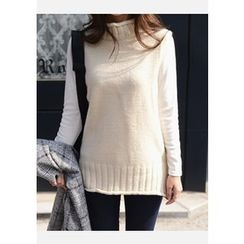 DEEPNY - Turtle-Neck Sleeveless Sweater