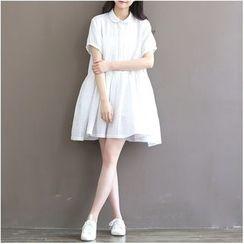 Clover Dream - Short-Sleeve Collared Dress