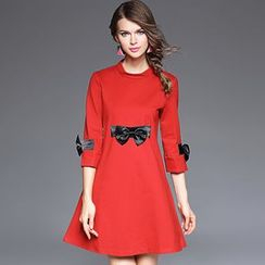 Ozipan - Elbow-Sleeve Bow-Accent A-Line Dress