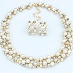 Utsukushi - Set: Beaded Necklace + Earrings