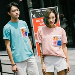 Evolu Fashion - Couple Matching Appliqué Crewneck T-Shirt