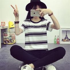 XGZ - Striped Short Sleeve T-Shirt