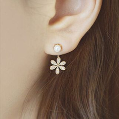 maxine - CZ Flower Drop Earrings