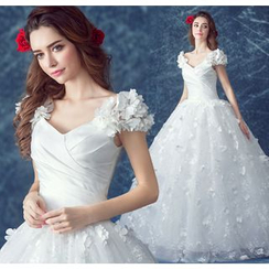 Angel Bridal - Applique Tulle Ball Gown Wedding Dress