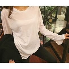 MARSHMALLOW - Round-Neck Slit-Detail Top