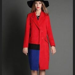 Mythmax - Notched-Lapel Color-Block Snap-Button Coat