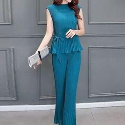 Ashlee - 套装: 无袖荷叶腰上衣 + 长裤