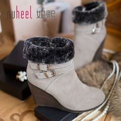Nuheel - Genuine Suede Buckled Wedge Short Boots