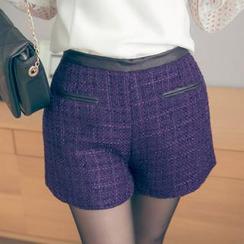Tokyo Fashion - Faux Leather-Trim Tweed Shorts