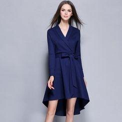 巧妮兒 - 前裹式長尾長袖連衣裙
