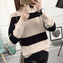 anzoveve - Mock Neck Striped Sweater
