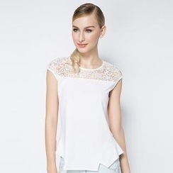 O.SA - Cap-Sleeve Lace-Panel Peplum Top