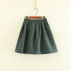 Mushi - Plaid Knit Skirt