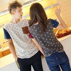 Evolu - Short-Sleeve Paisley Print Couple T-Shirt