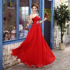 Bridal Workshop - One-Shoulder Jeweled A-Line Evening Gown