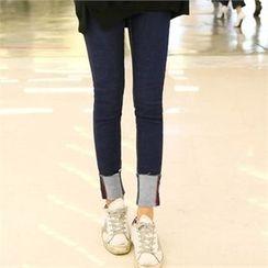 clicknme - Cuff-Hem Skinny Jeans