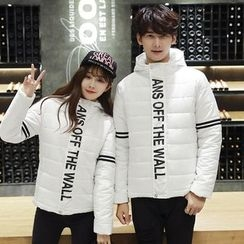 CASSY - Couple Matching Lettering Padded Jacket