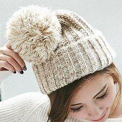 BAIMOMO - 飾球針織帽