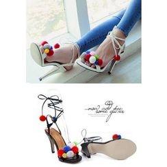 REDOPIN - Pompom Strap Sandals