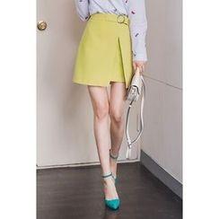 migunstyle - Band-Waist Belted-Detail Skirt