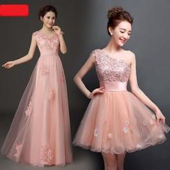 Caramelo - Lace Appliqué Mini Prom Dress / A-Line Evening Gown