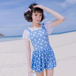 Little Dolphin - Whale Print Swimdress
