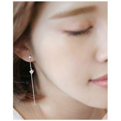 Miss21 Korea - Rhinestone Drop Earrings