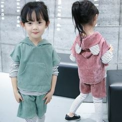 Merry Go Round - Kids Set: Long-Sleeve T-Shirt + Short-Sleeve Hoodie + Leggings + Shorts