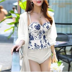 Jumei - Floral Swimsuit / Chiffon Top