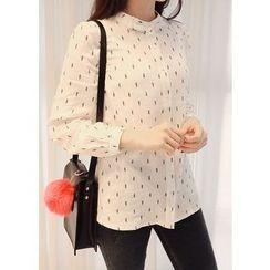 J-ANN - Mandarin-Collar Print Blouse
