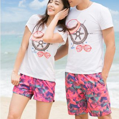 Charmaine - Couple Matching Printed Swim Shorts