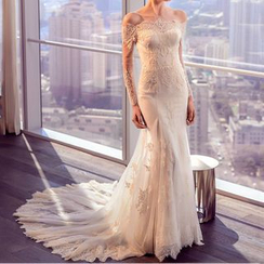 YACCA - Off Shoulder Long Sleeve Wedding Ball Gown With Train