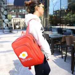 Crystal - Fried Egg Print Canvas Backpack