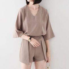 Meimei - 套装: 纯色七分袖上衣 + 宽腿短裤