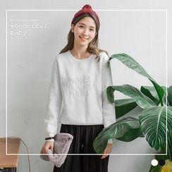 OrangeBear - Tonal Embroidered Graphic Fleecy Pullover