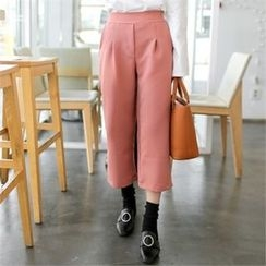 clicknme - Band-Waist Cropped Pants