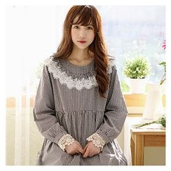 Sechuna - Lace-Trim Checked Empire Dress