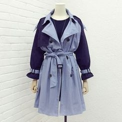 Tulander - Color Panel Double Breasted Trench Coat