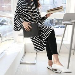 MARSHMALLOW - Maternity Bell-Sleeve Dip-Back Striped Dress