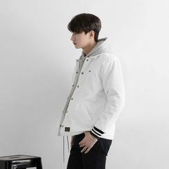Seoul Homme - Button-Front Quilted-Lined Jacket