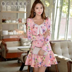 Dabuwawa - Long-Sleeve Bow-Accent Floral Dress