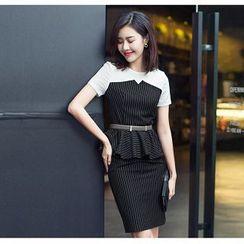Aision - Striped Peplum Top / Pencil Skirt