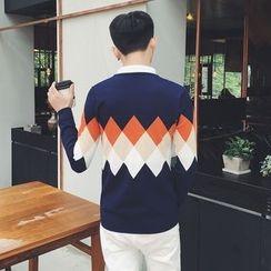 Breeson - Argyle Mock Two-Piece Sweater