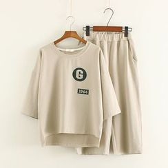 Mushi - Set: 3/4-Sleeve T-shirt + Wide-leg Pants