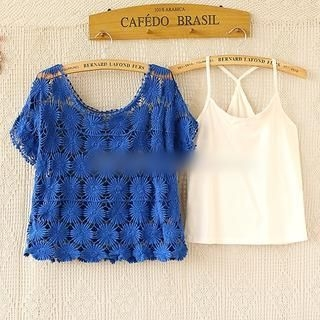Munai - Short-Sleeve Crocheted Top with Camisole
