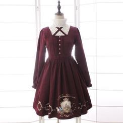 Reine - 印花长袖A字连衣裙