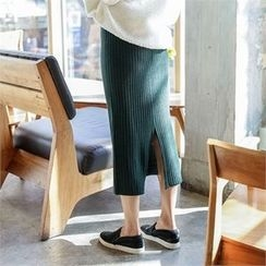 JVLLY - Slit-Hem Rib-Knit Long Skirt