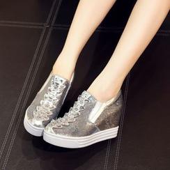 JY Shoes - Embellished Sequined Hidden Wedge Slip-Ons